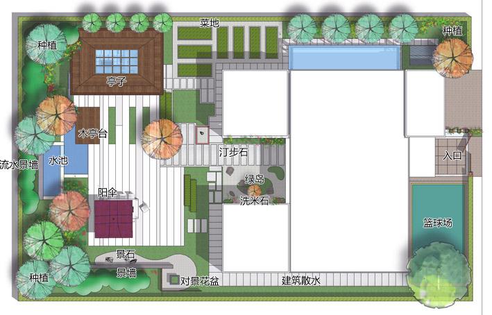 手绘新中式庭院平面