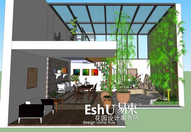 花园为阳光房内部地下一层的花园,设计师将楼上与楼下用楼梯相连,假山
