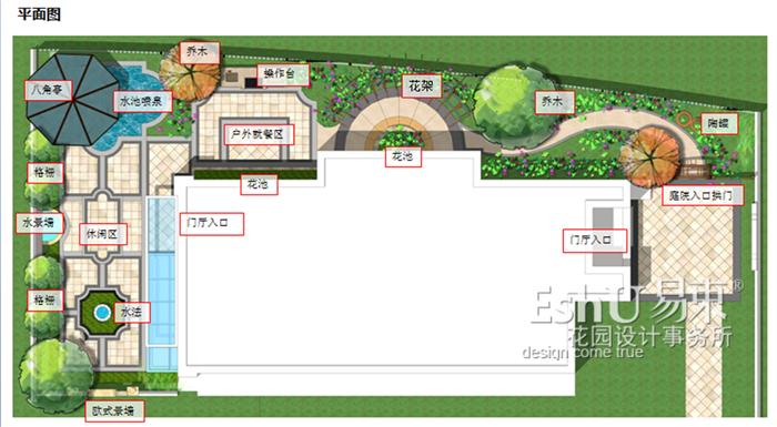 双龙原著别墅庭院花园设计-设计作品-eshu易束景观