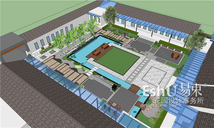 张家口新中式四合院庭院设计-设计作品-北京庭院设计