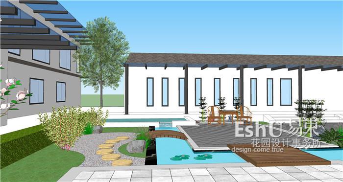 张家口新中式四合院庭院设计-设计作品-【易束花园】